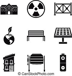 Alternative energy icons set, simple style