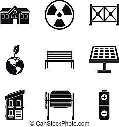 Alternative energy icons set, simple style