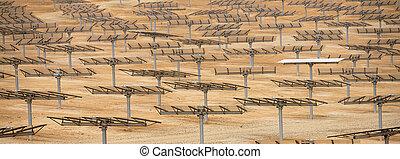 industrial landscape solar batteries in the desert