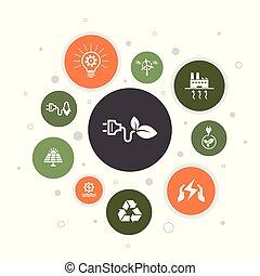 Alternative energy Infographic 10 steps bubble design.Solar...