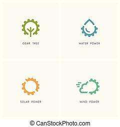 Alternative energy logo set