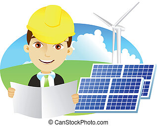 Alternative energy - Mid adult male engineer holding...