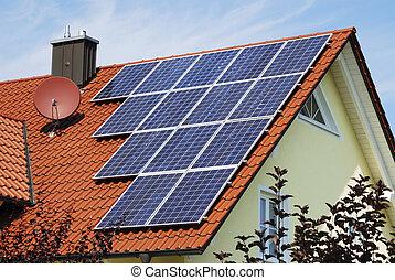 Alternative energy - House roor with solar panels....