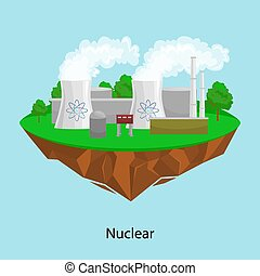 alternative energy power industry, Nuclear power station factory electricity on a green grass ecology concept, technology of renewable atomic station vector illustratin