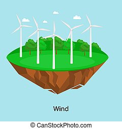alternative energy power, wind electricity turbine field on a green grass ecology concept, technology of renewable windmill station vector illustratin