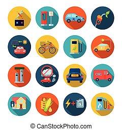 Alternative Energy Round Icons Set
