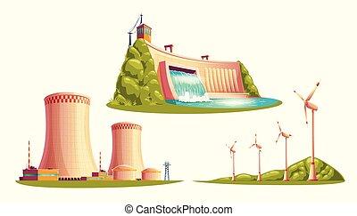Alternative energy sources, vector cartoon set