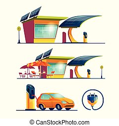 Alternative energy sources, vector cartoon set
