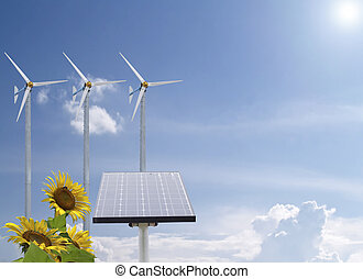 Alternative energy with sunflowers and pure fresh air