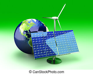 Alternative Energy - USA - 3D rendered Illustration.