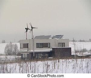 alternative energy use - wind energy generator and solar...