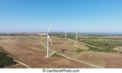 Alternative energy using wind turbines generators. Video...