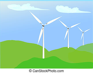 Alternative Energy-Wind - illustration of a wind farm