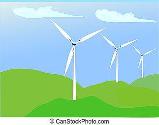 Alternative Energy-Wind - illustration of a wind farm