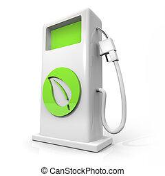 Alternative Fuel Gas Pump - Green Leaf - A white pump of...