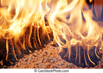 Wood pellets - Alternative fuel: Wood pellets burning in a ...