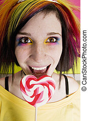 Alternative Girl with a Heart Lollipop