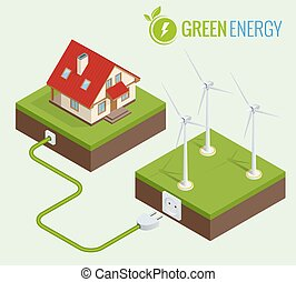 Alternative Green energy or Green House concept. Flat 3d web isometric infographic vector illustration. Composition of small house with ecological equipment - wind turbine
