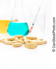 Alternative health care by test in laboratory to make medicine, vitamin for beauty on white background.