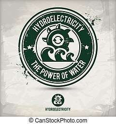 alternative hydroelectricity stamp containing: two environmentally sound eco motifs in circle frames, grunge ink rubber stamp effect, textured paper background, eps10 vector illustration