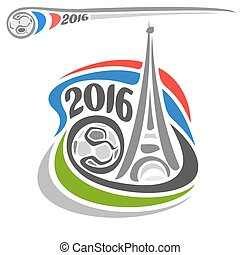 Abstract vector for Alternative logo of European Football soccer Championship Euro 2016 in France. Eiffel tower, soccer ball, french flag close-up white background. UEFA FIFA emblem symbol sign icon