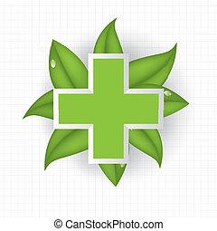 Alternative medication concept green icon background