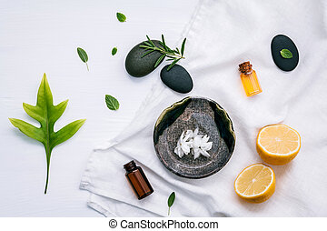 Alternative medicine and aromatherapy bottle of essential oil