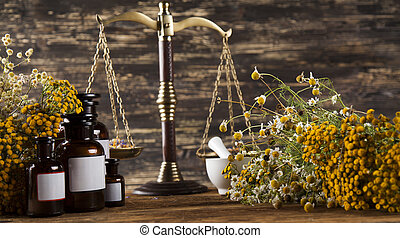 Alternative medicine and Natural remedy - Herbal medicine on...