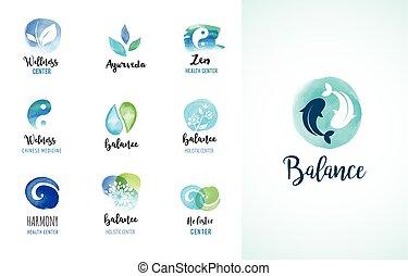 Alternative medicine and wellness, yoga concept - vector watercolor icons