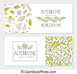 Alternative Medicine Banner Templates Set, Homeopathy, Naturopathy, Holistic Medicine Banner, Flyer, Brochure Design Hand Drawn Vector Illustration