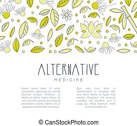 Alternative Medicine Banner with Space for Text, Homeopathy, Naturopathy, Ayurveda, Acupuncture, Holistic Medicine Poster, Flyer, Brochure Template Hand Drawn Vector Illustration