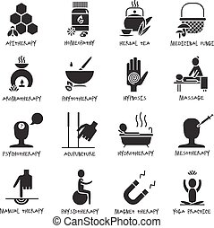Alternative medicine and healthcare black white icons set with aromatherapy massage and acupuncture flat isolated vector illustration