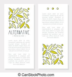 Alternative Medicine Card, Homeopathy, Naturopathy, Holistic Medicine Banner, Flyer, Brochure with Text Hand Drawn Vector Illustration