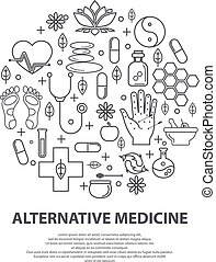 Alternative Medicine centre vector concept. Holistic center, naturopathic medicine, homeopathy, acupuncture, ayurveda, chinese medicine, womans health. For web site, print design, business card