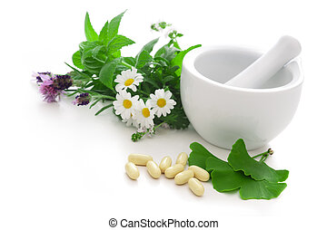Alternative Medicine - Healing herbs in mortar. Alternative...