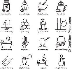 Alternative Medicine Icons Set - Alternative medicine black...