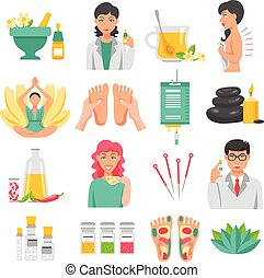 Alternative Medicine Icons Set - Alternative medicine set of...