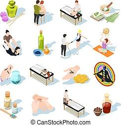 Alternative Medicine Isometric Icons - Alternative medicine ...