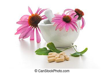 Alternative medicine - Healing herbs and a mortar....