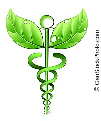 Illustration of a medical symbol with leaves instead of wings and a vine instead of serpents. Concept for alternative medicine or a combined use of alternative medicine and conventional medical practices.