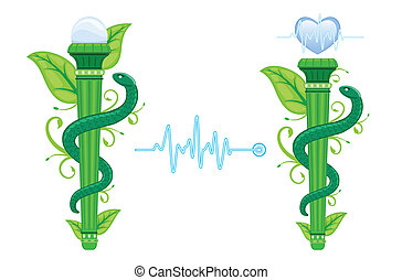 The Green Asklepian - alternative, naturopathic, homeopathic medicine. Set of two, with EKG heart graph. Isolated over white background. Vector file saved as EPS AI8, no effects, easy print and edit.