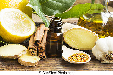 Alternative Medicine with Lemon Oil, Pollen, Cinnamon , ...