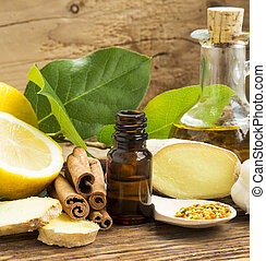 Alternative Medicine with Lemon,Pollen,Cinnamon , Ginger and...