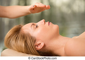 Alternative medicine - Young beautiful woman and her ...