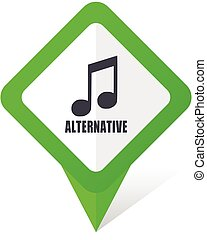 Alternative music green square pointer web and mobile phone vector icon in eps 10 on white background with shadow