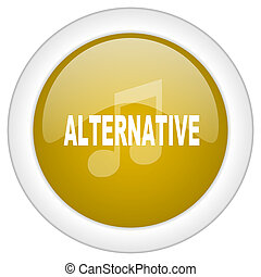alternative music icon, golden round glossy button, web and mobile app design illustration