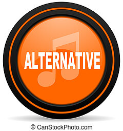 alternative music orange glossy web icon on white background