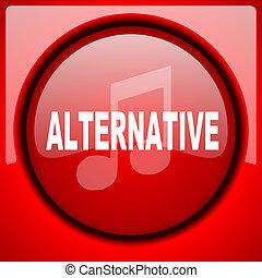 alternative music red icon plastic glossy button