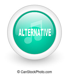 alternative music round glossy web icon on white background