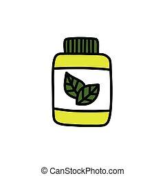alternative, natural medicine doodle icon, vector color illustration